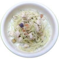 白身魚と野菜の豆乳パスタ